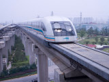 Meglev Train Prepares to Depart Airport Train Station  Shanghai  China