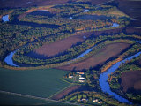 Red River of the North Aerial  near Fargo  North Dakota  USA