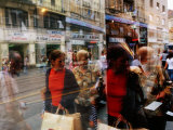 Pedestrians Reflected in Shop Window  Ilica St  Zagreb  Croatia
