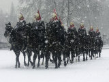 Snow Falling on Members of the Household Cavalry as They Cross Horse Guards Parade