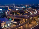 Highway Traffic at Entrance to Nanpu Bridge over Huangpu River  Shanghai  China