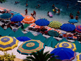Overhead of Umbrellas at Private Bathing Area of Marine Piccola Beach  Capri  Italy