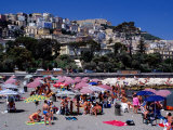 Beach Along Lungomare Caraccio at Chiaia  Naples  Italy