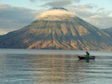 Reflections on Lake Atitlan with Fishing Boat  Panajachel  Western Highlands  Guatemala