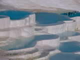 Limestone Hot Springs and Reflection of Tourists  Cotton Castle  Pamukkale  Turkey