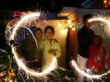 Children Light Firecrackers for the Hindu Festival of Diwali in New Delhi  India  Oct 20  2006