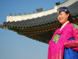 Gyeongbokgung Palace  Woman in Traditional Hanbok Dress  Gwanghwamun  Seoul  South Korea