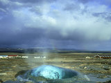 Strokkur (The Butter Churn) Erupts Approx Every 3 Mns at Geyser Hot Springs Area  Iceland