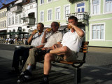Beer Drinkers Sitting on a Bench  Sonderborg  Denmark
