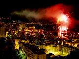 Fireworks Over Monte Carlo  Port Hercule During Summer Celebrations  Monte Carlo  Monaco