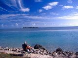 Fisherman in Beach Chair  Florida Keys  Florida  USA