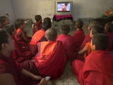 Young Monks Watch a Bollywood Movie at a Monastery
