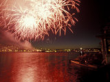 4th of July Fireworks on Lake Union  Seattle  Washington  USA