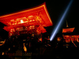 Kiyomizu-Dera Temple Buildings Lit Up at Night and Searchlight  Kyoto  Japan