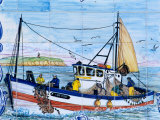 Painted Ceramic Tiles of a Fishing Boat  Algarve  Portugal
