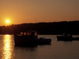 Sunset Over the Harbor on Mt Desert Island  Maine  USA