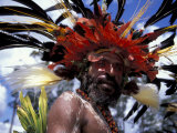 Warrior at Sing Sing Festival  Feathers from a Bird of Paradise  Papua New Guinea  Oceania