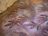 Ancient Hand and Rhea Print Paintings  Cave of the Hands  Santa Cruz Province  Patagonia  Argentina