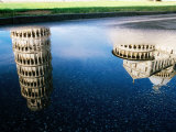 Leaning Tower Reflected in Puddle  Pisa  Italy