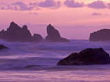 Sunset on Sea Stacks at Bandon Beach  Oregon  USA