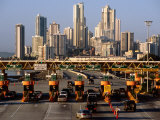Freeway Toll Gates and Paitilla Skyline  Panama City  Panama
