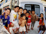 Group of Children in Street  Kampot  Cambodia