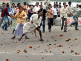 Opposition Protestors Throw Brickbats at Police at Kanchpur