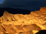 Dawn Light Over Zabriskie Point Yellow-Tinted Rock Formation  Death Valley National Park  USA