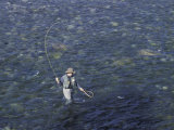 Fly Fisherman in the Methow River  Washington  USA
