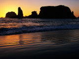 Sea Stacks Silhouetted at Sunset at Bandon State Park  Bandon  USA
