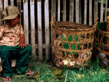 Tired Boy with Baskets  Inle Lake  Myanmar (Burma)