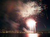 4th of July Fireworks over Lake Union in Seattle  Washington  USA