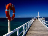 Life Buoy and Fishermen on Pier  Point Lonsdale  Australia