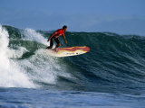 Surfer on Wave at Manu Bay  Raglan  New Zealand