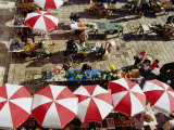 Overhead of Umbrellas and Stalls at Gunduliceva Poljana Market  Dubrovnik  Croatia