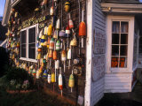 Colorful Lobster Pot Floats Adorning the Wall of a Seafood Shack