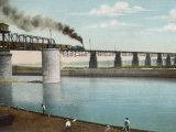 Railway Train Rattles Over the Impressively Long Panhandle Bridge at Louisville Kentucky