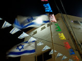 Light Shinning Through the Flag of Israel  Low Angle View