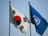 The Flags of South Korea and the United Nations Wave in the Breeze