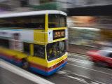 Bus Speeding Along Hennessey Road  Wan Chai  Hong Kong  China