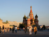 People in Front of St Basil's Cathedral  Moscow  Russia
