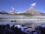 Fishermen in Canoe on Waterfowl Lake  Banff National Park  Canada
