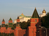 Exterior of Kremlin Towers and Great Kremlin Palace  Moscow  Russia