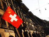 Swiss Flag on Marktgasse  Bern  Switzerland