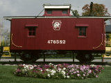 A Bright Red Caboose and a Flower Bed Compete for Vivid Color