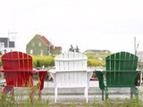 Green  Red and White Wooden Deck Chairs