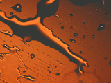 Close-up of Illuminated Orange Water Droplets and a Puddle on a Shiny Surface