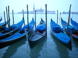 Moored Gondolas Along the Grand Canal in Venice
