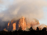 Sunlight Burning Off Morning Fog Surrounding the Red Rocks of Sedona