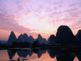 Mountains on the Li River at Sunrise  Yangshuo  China